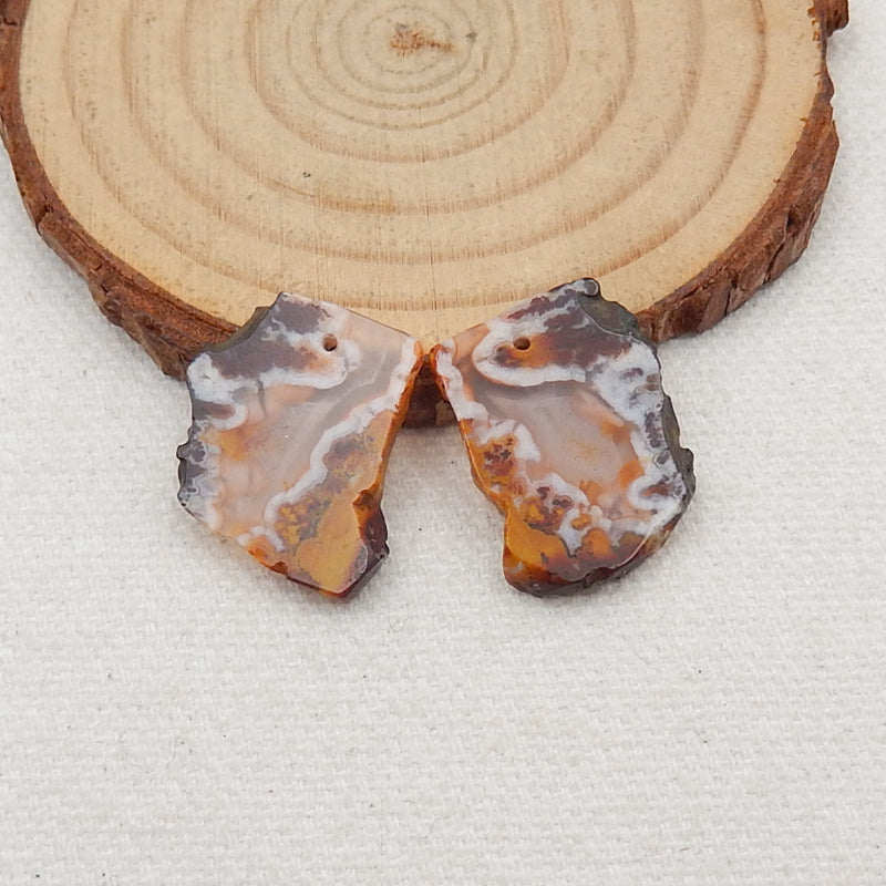 Nugget Agate Earrings Stone Pair, stone for earrings making, 20x15x3mm, 3.5g - MyGemGarden