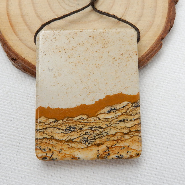 Natural Picture Jasper Drilled Rectangle Gemstone Pendant Bead, 41x32x6mm, 20.6g - MyGemGarden