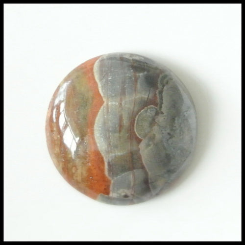 Natural Mushroom Jasper Gemstone 22mm round cabochons, 22x22x7mm, 5.3g - MyGemGarden