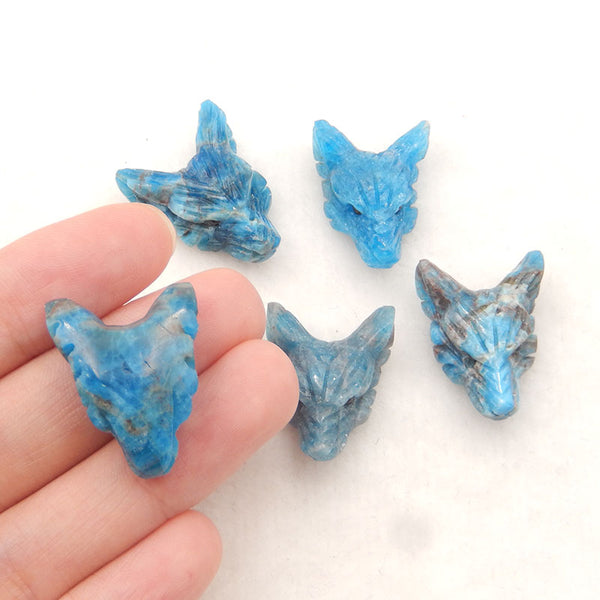 1 Pcs Handmade Blue Apatite Crystal Carved Wolf Head Pendant, 23x17x9mm, 4.0g
