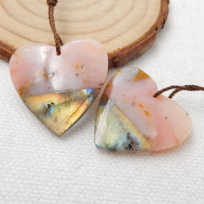 Pink Opal And Labradorite Glued Gemstone Earrings Stone Pair, 26x25x5mm, 7.9g - MyGemGarden