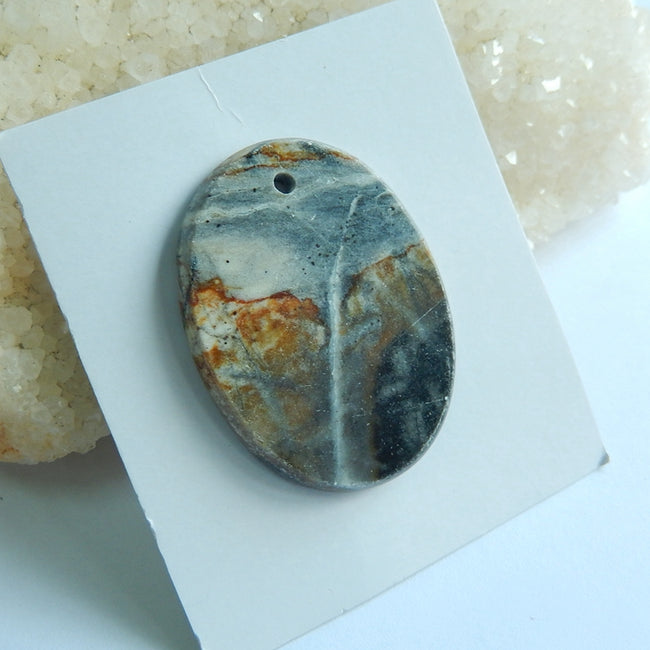 Natural Picasso Jasper Drilled Oval Gemstone Pendant Bead, 40x30x4mm, 8.95g - MyGemGarden