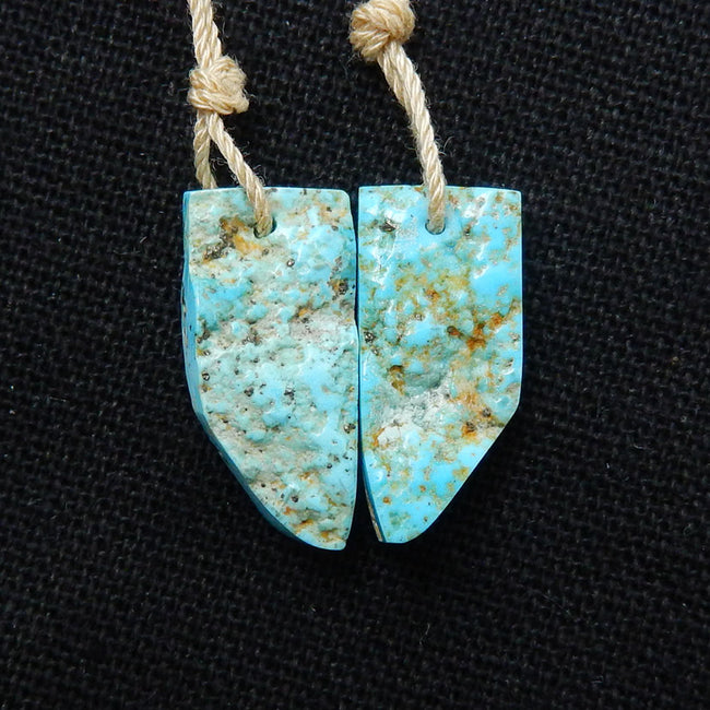 Turquoise Earrings Stone Pair, stone for earrings making, 20x9x4mm, 2.4g - MyGemGarden