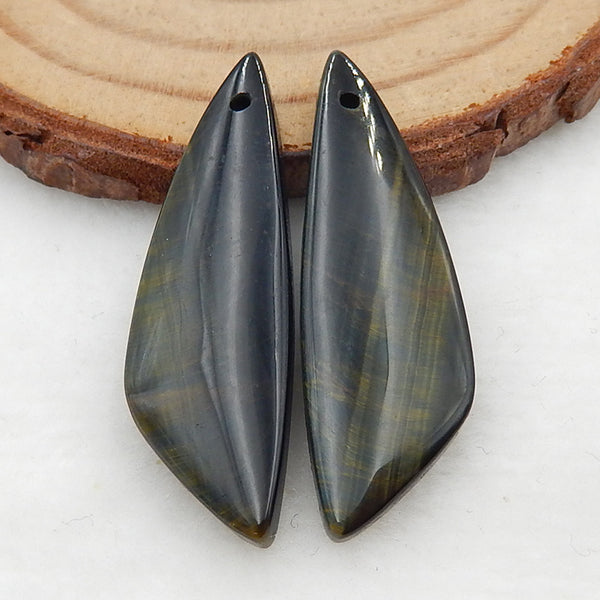 Natural Tiger-Eye Earrings Stone Pair, stone for earrings making, 34x11x4mm, 4.0g