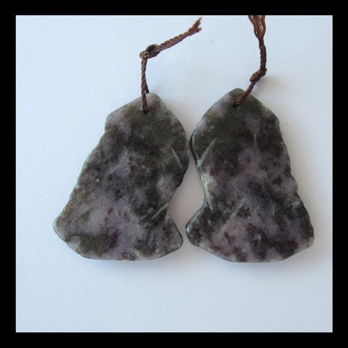 Purple Lilac Jasper Earrings Pair,34x25x3mm,10.5g - MyGemGarden