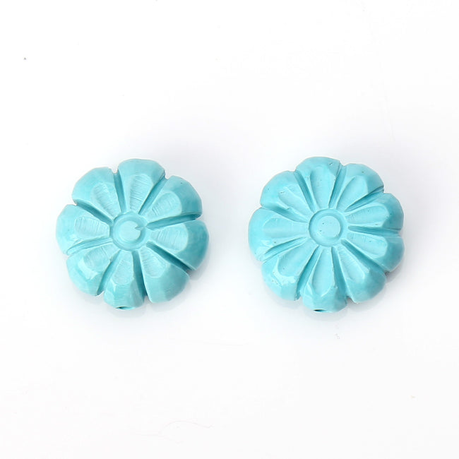 Sale 1 Pair Turquoise Carved Flower Loose Gemstone, 13mm