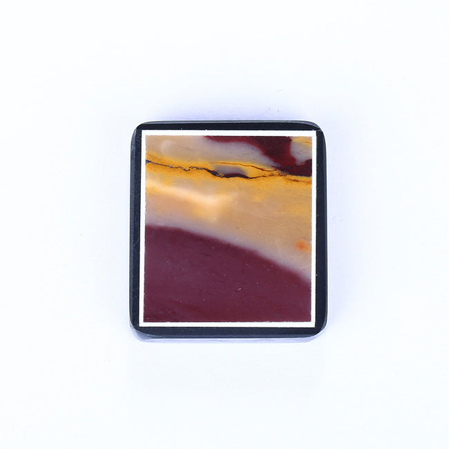 Natural Mookaite Jasper and Obsidian Glued Drilled Pendant Bead, 30x27x6.5mm, 12.8g - MyGemGarden