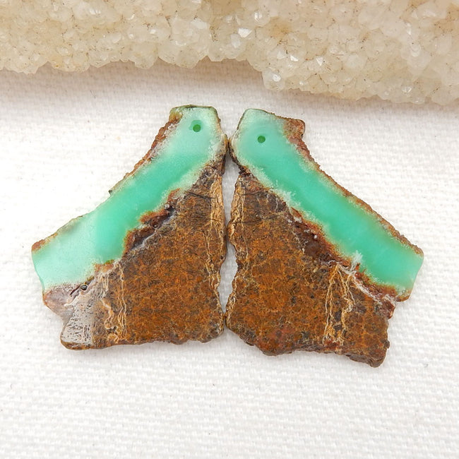 Nugget Chrysoprase Earrings Stone Pair, stone for earrings making, 32x24x3mm, 7.3g - MyGemGarden