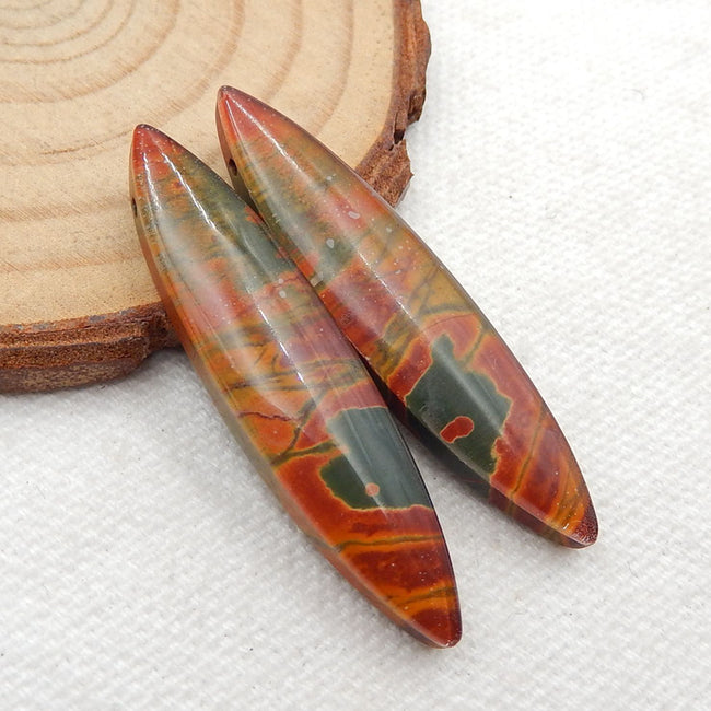 Multicolor Picasso Jasper and White Quartz Glued Gemstone Earrings Stone Pair, 41x10x6mm, 7.6g - MyGemGarden