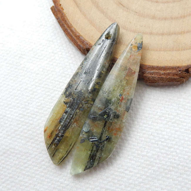Green Kyanite Earrings Stone Pair, stone for earrings making, 39x9x4mm, 6.9g - MyGemGarden