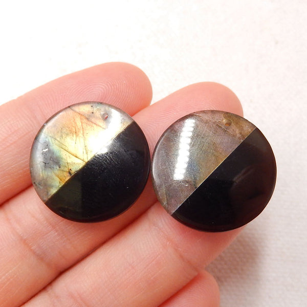 Obsidian And Labradorite Glued Round Gemstone Earrings Stone Pair, 20x4mm, 5.1g - MyGemGarden