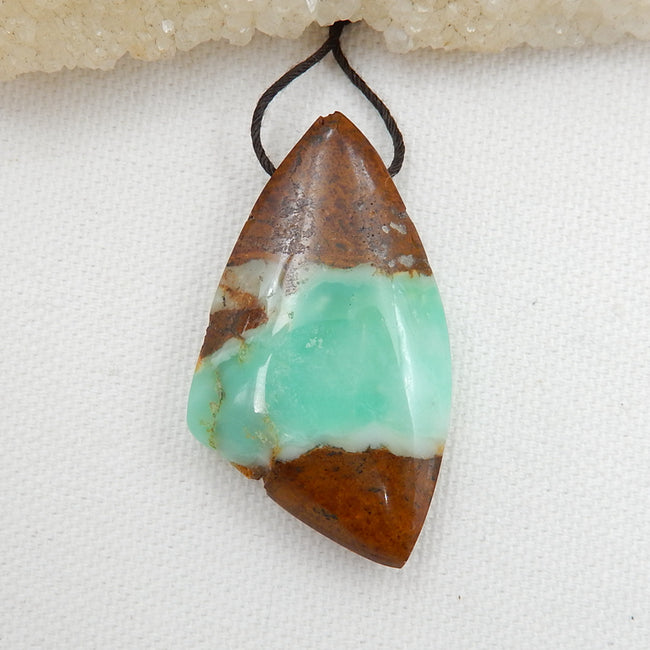 Natural Chrysoprase Drilled Pendant Bead, 46x26x10mm, 15.3g - MyGemGarden
