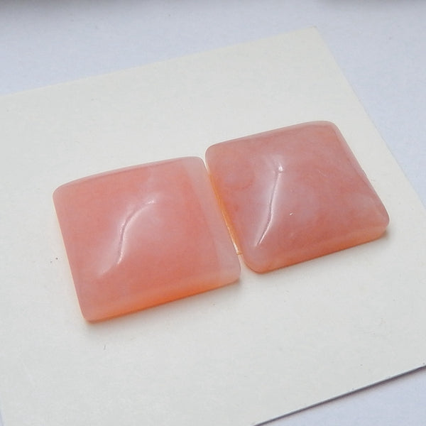 Natural Pink opal Square Gemstone Cabochon pair, 13x5mm, 3.1g - MyGemGarden