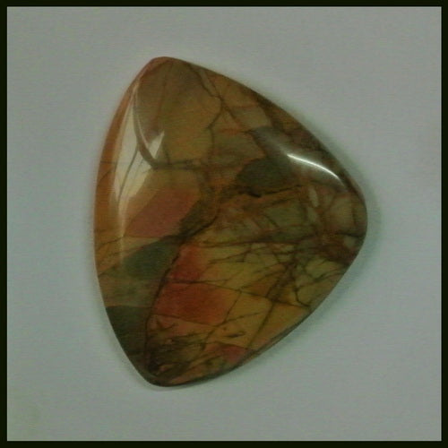 Natural Multi-Color Picasso Jasper Gemstone Cabochon 38x31x5mm,10.25g - MyGemGarden