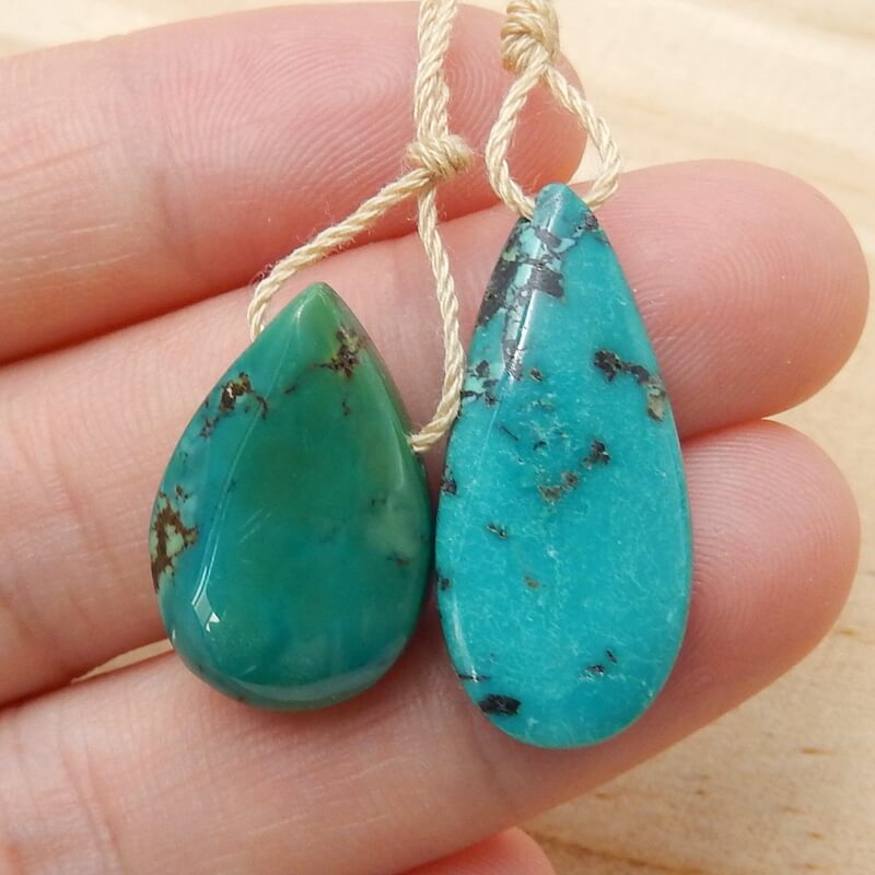 2 Pcs Turquoise Gemstone Drilled Teardrop Pendant Beads, 26x12x6mm, 20x13x7mm, 5.3g - MyGemGarden