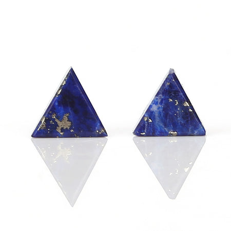 New design Lapis Lazuli Triangle beads Gemstone Cabochon Pair, 5x2.5mm, 1ct - MyGemGarden