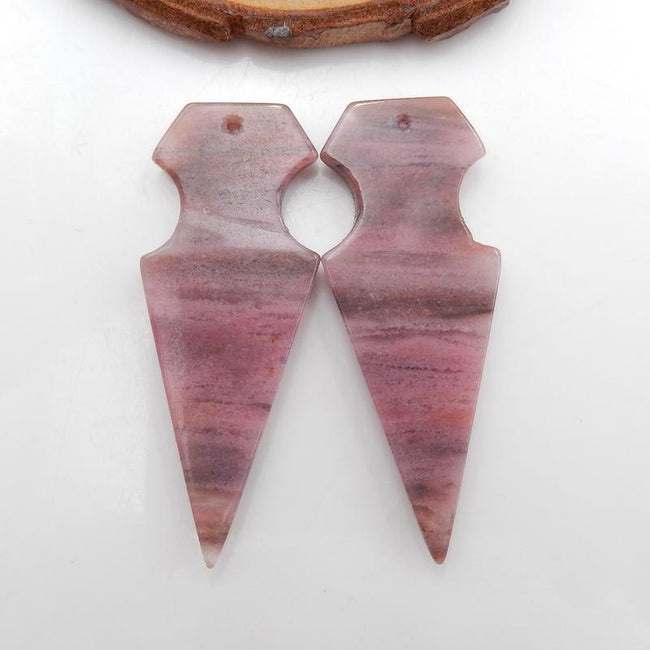 Rhodonite Gemstone Earrings Stone Pair to make Earrings, 42x16x4mm, 8.3g