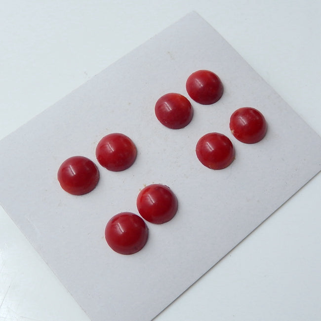 8 pcs Red Coral 9mm round cabochons, 9x9x4mm, 4.83g - MyGemGarden