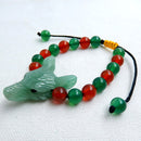Handcraft Green Aventurine Wolf Head Bracelet, 8mm red agate and green agate beads strand, 36x25x12mm, 24.2g