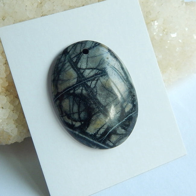 Natural Picasso Jasper Drilled Oval Gemstone Pendant Bead, 40x30x6mm, 13.4g - MyGemGarden