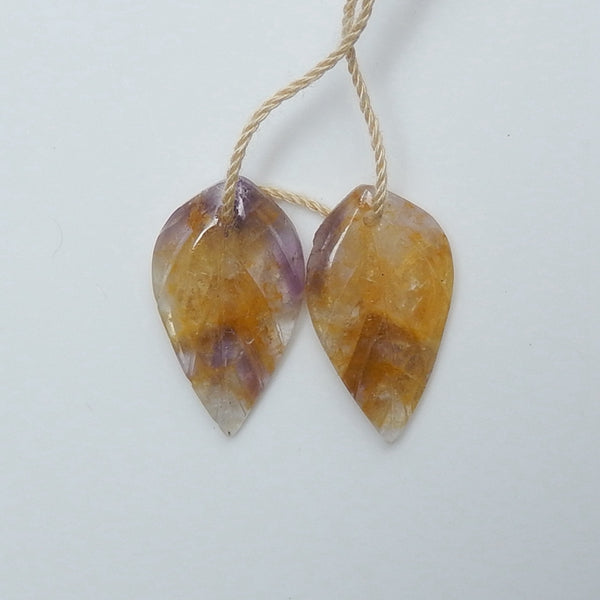 Hot sale Amethyst Carved leaf Earrings Pair, 22x12x3mm, 2.5g - MyGemGarden