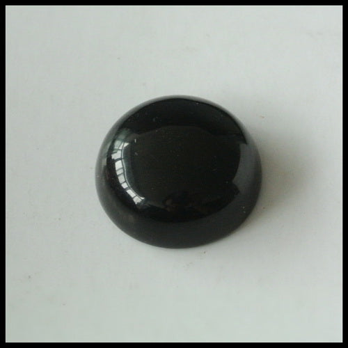 Natural Obsidian Gemstone 16mm Round Cabochon, 16x16x7mm, 2.7g - MyGemGarden