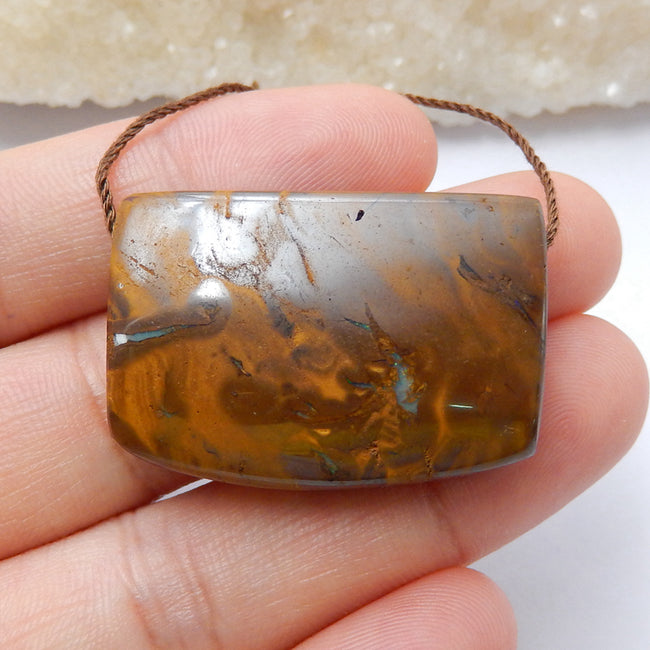 Natural Boulder opal Drilled Gemstone Pendant Bead, 31x22x10mm, 14.1g - MyGemGarden