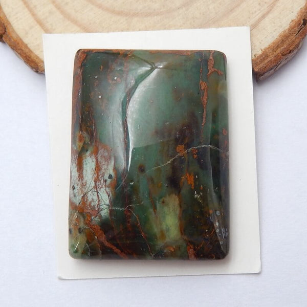 Natural Green Opal Rectangle Gemstone Cabochon, 34x25x9mm, 14.2g - MyGemGarden