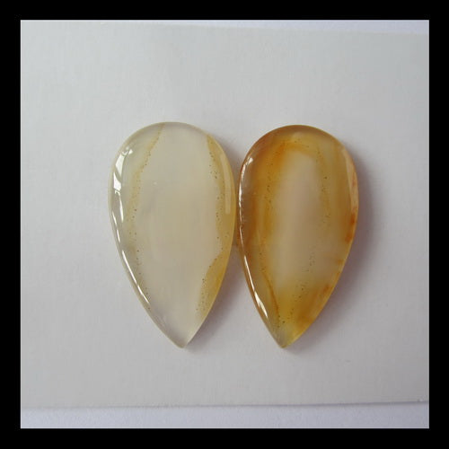 Red Agate Cabochon Pair 31x17x4mm,7.7g - MyGemGarden