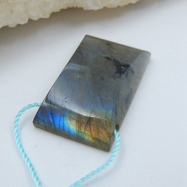 Natural labradorite Drilled Pendant Bead, 25x15x6mm, 5.1g - MyGemGarden