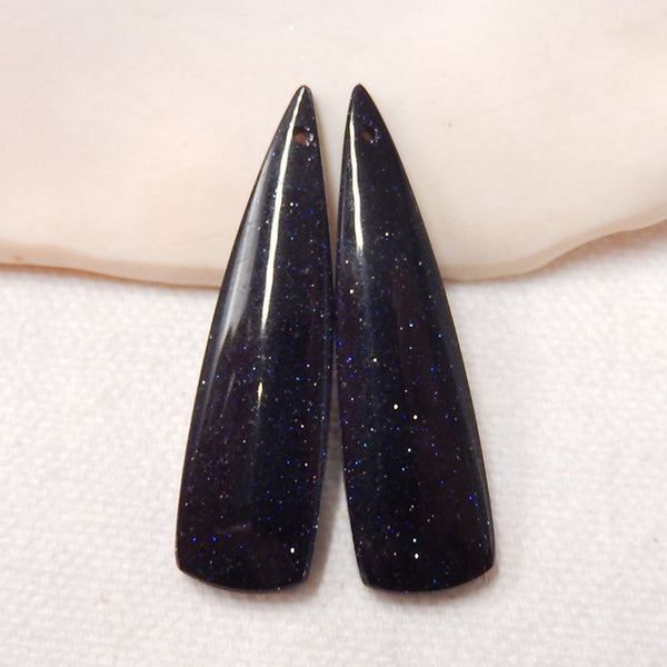 Blue Goldstone Earrings Stone Pair, stone for earrings making, 41x11x5mm, 7g - MyGemGarden