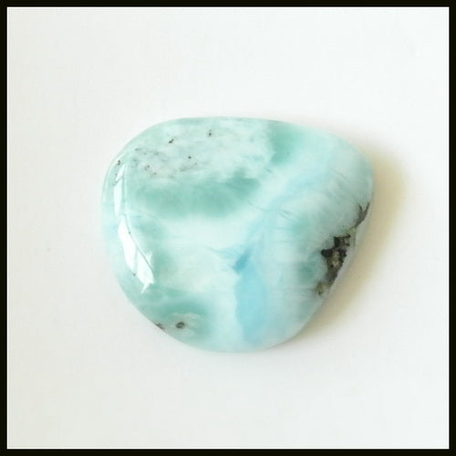 Natural Larimar Gemstone Cabochon, 20x17x6mm, 4.0g
