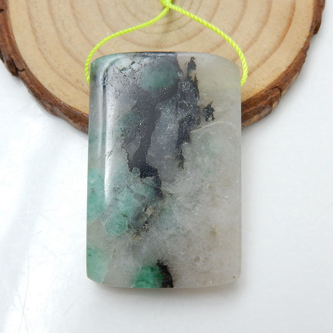 Natural Emerald Green Gemstone Pendant, Natural Stone Jewelry, 42x27x8mm, 22g - MyGemGarden