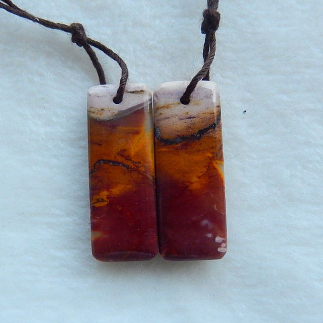 Top Quality Mookaite  Jasper Gemstone Natural Earrings Pair,28x11x5mm,5.5g - MyGemGarden