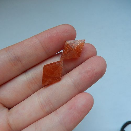 Hot Fashion Sunstone Gemstone Faceted Cabochon Pairs,18x12x7mm,2.7g - MyGemGarden