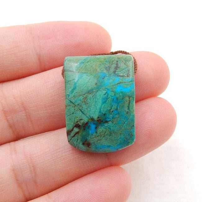 Chrysocolla Side Drilled Pendant Stone, 23x16x9mm, 6.2g