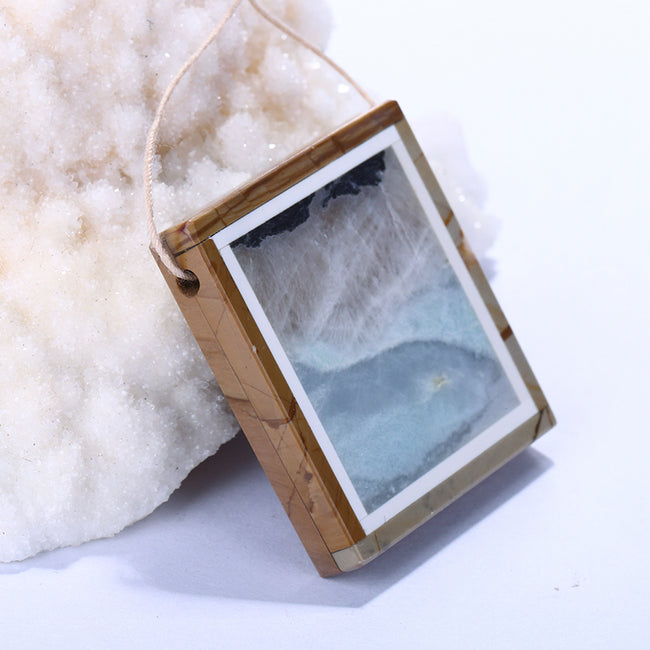 Picture Jasper and Amazonite Drilled Glued Pendant, 35x34x6mm, 18.6g - MyGemGarden