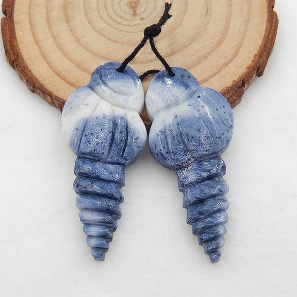 Carved Shell Shaped Blue Coral Earrings Stone Pair, 43x19x5mm, 7.5g