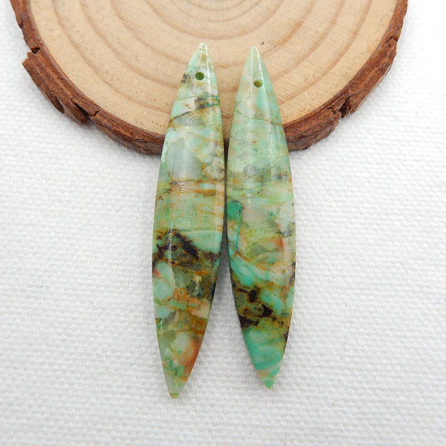 Chrysocolla Long Earrings Stone Pair, stone for earrings making, 53x10x5mm, 8.8g - MyGemGarden