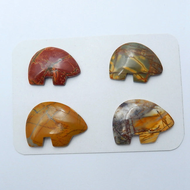 4 pcs Natural Multi-Color Picasso jasper Gemstone Cabochons, 25x18x4mm, 19.3g - MyGemGarden