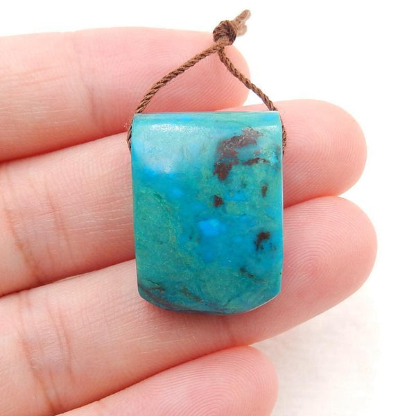 Chrysocolla Side Drilled Pendant Stone, 23x16x10mm, 6.8g