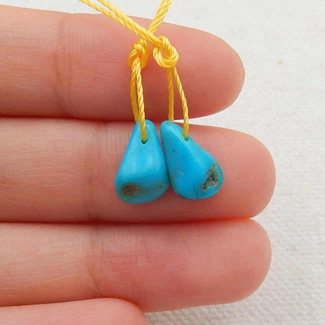 Turquoise Earrings Stone Pair, stone for earrings making, 10x7x4mm, 0.5g - MyGemGarden