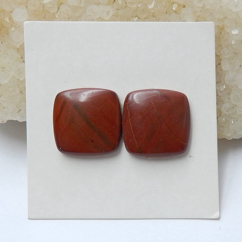 Natural Red River Jasper Rectangle Cabochon Pair, 14x4mm, 3.3g - MyGemGarden