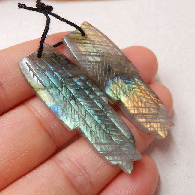 Hand Carved Labradorite Feather Shaped Earrings Stone Pair, 40x14x4mm, 7.8g - MyGemGarden