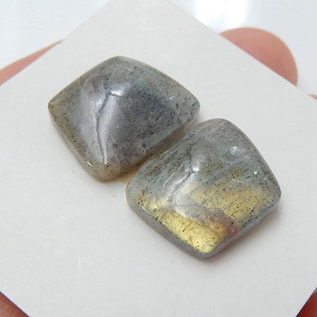 Natural Labradorite Drilled Earrings pair, 14x12x5mm, 3.6g - MyGemGarden