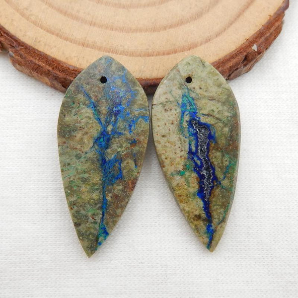 Carved Chrysocolla Leaf Gemstone Earrings Stone Pair, 31x15x4mm, 5.3g
