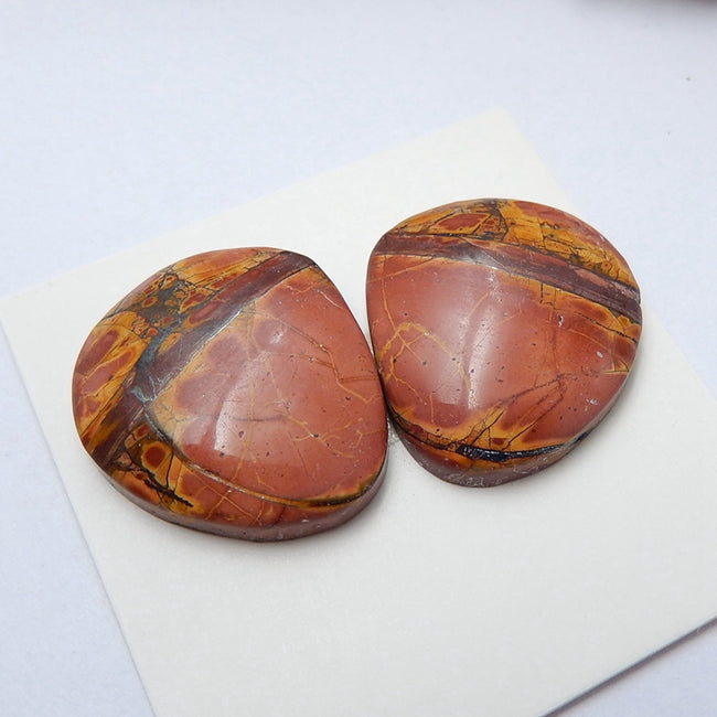 Natural Multi-Color Picasso jasper Gemstone Cabochon pair, 20x18x4mm, 5.7g - MyGemGarden