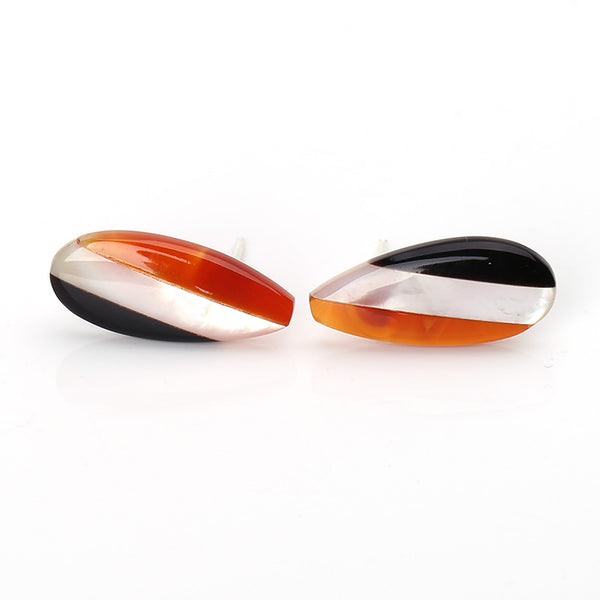 Teardrop Agate, M.O.P and Obsidian Glued Stud Earrings, 19x8x3mm, 1.7g, Silver needle 12mm