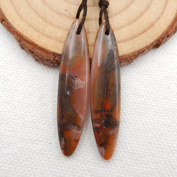Picture Agate Earrings Stone Pair, stone for earrings making, 40x9x4mm, 5g - MyGemGarden