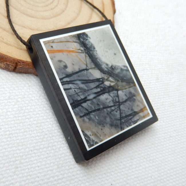 Natural Black Stone And Picasso Jasper Drilled Glued Pendant Bead, 39x32x6mm, 18.6g - MyGemGarden